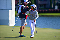 Haru Nomura (JPN)  and Jason McDede shake hands after her birdie putt on 18 to tie Cristie Kerr (USA) at the end of round 4 of  the Volunteers of America Texas Shootout Presented by JTBC, at the Las Colinas Country Club in Irving, Texas, USA. 4/30/2017.<br /> Picture: Golffile | Ken Murray<br /> <br /> <br /> All photo usage must carry mandatory copyright credit (&copy; Golffile | Ken Murray)