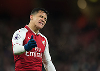 Alexis Sanchez of Arsenal shows his frustration during the Premier League match between Arsenal and Newcastle United at the Emirates Stadium, London, England on 16 December 2017. Photo by Vince  Mignott / PRiME Media Images.