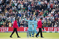 After helping umpire Joel Wilson to his feet Jason Roy (England) celebrates and acknowledges his century during England vs Bangladesh, ICC World Cup Cricket at Sophia Gardens Cardiff on 8th June 2019