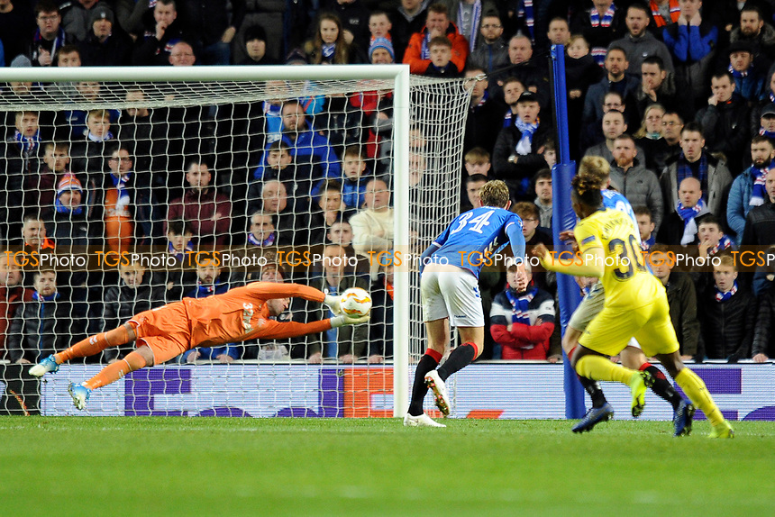 Allan McGregor of Rangers makes a save during Rangers vs Villarreal CF, UEFA Europa League Football at Ibrox Stadium on 29th November 2018