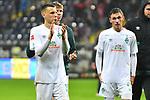 06.10.2019, Commerzbankarena, Frankfurt, GER, 1. FBL, Eintracht Frankfurt vs. SV Werder Bremen, <br /> <br /> DFL REGULATIONS PROHIBIT ANY USE OF PHOTOGRAPHS AS IMAGE SEQUENCES AND/OR QUASI-VIDEO.<br /> <br /> im Bild: Maximilian Eggestein (#35, SV Werder Bremen), Benjamin Goller (SV Werder Bremen #39)<br /> <br /> Foto © nordphoto / Fabisch