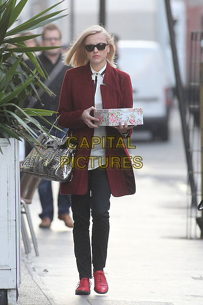 Fearne Cotton arriving at the studios of BBC Radio 1, London, England..January 16th, 2012.full length sunglasses shades red maroon burgundy jacket coat red shoes silver bag purse tin box carrying holding flower floral jeans denim.CAP/HIL.©John Hillcoat/Capital Pictures .