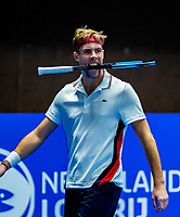Alphen aan den Rijn, Netherlands, December 15, 2018, Tennispark Nieuwe Sloot, Ned. Loterij NK Tennis,  Semifinal men: Scott Griekspoor (NED) eats his racket<br /> Photo: Tennisimages/Henk Koster