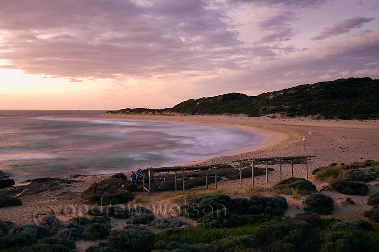 Dusk at the Margaret River mouth beach in the Leeuwin-Naturaliste National Park.  Margaret River, Western Australia, AUSTRALIA.