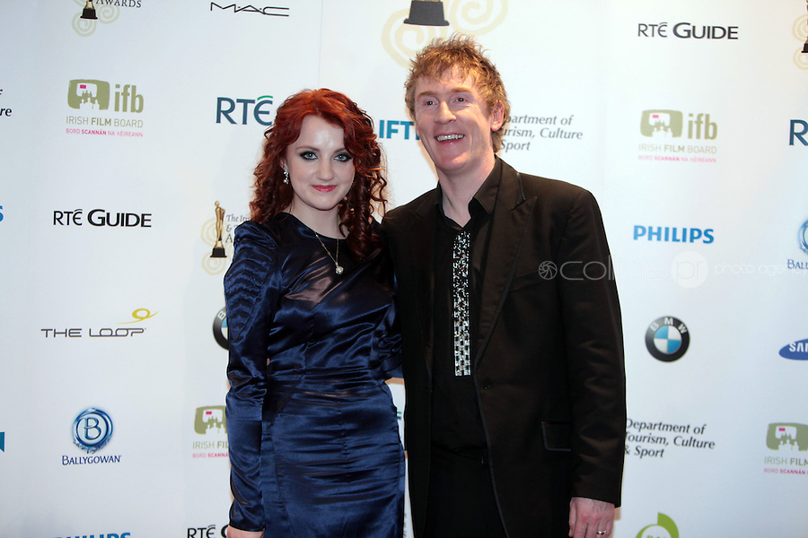 12/2/11 Ivana Lynch and Hector O Hochagain at the 8th Irish Film and Television Awards at the Convention centre in Dublin. Picture:Arthur Carron/Collins