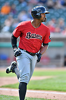 Birmingham Barons left fielder Eloy Jimenez (21) rounds the bases after hitting a home run during a game against the Tennessee Smokies at Smokies Stadium on May 6, 2018 in Kodak, Tennessee. The Smokies defeated the Barons 6-2. (Tony Farlow/Four Seam Images)