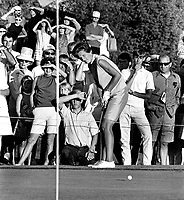 Kathy Whitworth putting at the LPGA tourney at Round Hill CC in Alamo, Ca (photo1973/Ron Riesterer)