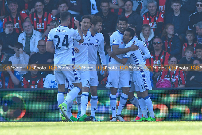Diego Costa of Chelsea celebrates scoring the first goal during AFC Bournemouth vs Chelsea, Premier League Football at the Vitality Stadium on 8th April 2017