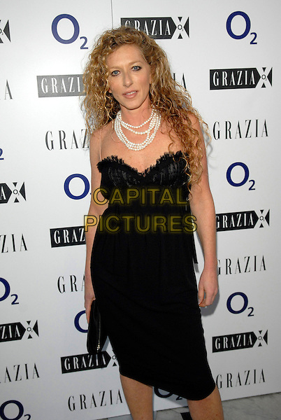 KELLY HOPPEN & .The Grazia O2 Awards, Sunbeam Studio, London, England. .July 19th, 2007.full length black dress skinny spaghetti straps pearl necklace white.CAP/FIN.©Steve Finn/Capital Pictures