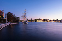 AF Chapman and Skeppsholmen at dusk, Stockholm, Sweden
