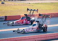 Oct 20, 2019; Ennis, TX, USA; NHRA top fuel driver Austin Prock (near) alongside Doug Kalitta during the Fall Nationals at the Texas Motorplex. Mandatory Credit: Mark J. Rebilas-USA TODAY Sports