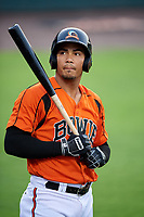 Bowie Baysox designated hitter Anthony Santander (45) on deck during the first game of a doubleheader against the Trenton Thunder on June 13, 2018 at Prince George's Stadium in Bowie, Maryland.  Trenton defeated Bowie 4-3.  (Mike Janes/Four Seam Images)