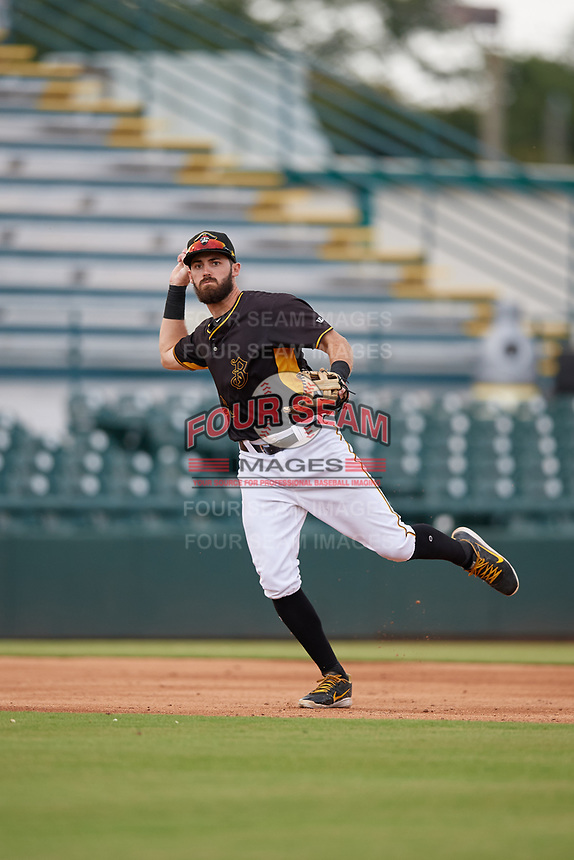 Bradenton Marauders third baseman Dylan Busby (28) throws to first base during a Florida State League game against the Palm Beach Cardinals on May 10, 2019 at LECOM Park in Bradenton, Florida.  Bradenton defeated Palm Beach 5-1.  (Mike Janes/Four Seam Images)