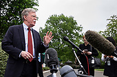 United States National Security Advisor Ambassador John Bolton speaks with members of the media in the West Wing driveway of the White House in Washington, D.C. on May 1, 2019. Bolton briefed the media members on the ongoing situation in Venezuela. Credit: Alex Edelman / CNP