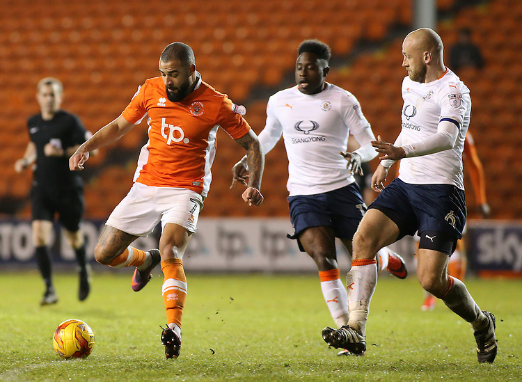 Blackpool's Kyle Vassell gets away from Luton Town's Pelly Ruddock &amp; Scott Cuthbert<br /> <br /> Photographer David Shipman/CameraSport<br /> <br /> The EFL Sky Bet League Two - Blackpool v Luton Town - Saturday 17th December 2016 - Bloomfield Road - Blackpool<br /> <br /> World Copyright &copy; 2016 CameraSport. All rights reserved. 43 Linden Ave. Countesthorpe. Leicester. England. LE8 5PG - Tel: +44 (0) 116 277 4147 - admin@camerasport.com - www.camerasport.com