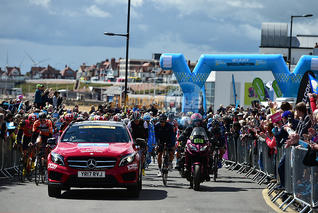 The start of Stage 1 of the Tour de Yorkshire 2017 running 174km from Bridlington to Scarborough, England. 28th April 2017. <br /> Picture: ASO/P.Ballet | Cyclefile<br /> <br /> <br /> All photos usage must carry mandatory copyright credit (&copy; Cyclefile | ASO/P.Ballet)