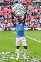 Raheem Sterling of Manchester City poses with the FA Community Shield after the match between Liverpool and Manchester City at Wembley Stadium on August 4th 2019 in London, England. (Photo by John Rainford/phcimages.com)<br /> Foto PHC/Insidefoto <br /> ITALY ONLY