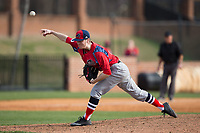 NJIT Highlanders relief pitcher Brett Lubreski (18) delivers a pitch to the plate against the High Point Panthers during game one of a double-header at Williard Stadium on February 18, 2017 in High Point, North Carolina.  The Panthers defeated the Highlanders 11-0.  (Brian Westerholt/Four Seam Images)