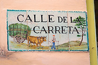 Enamel street sign: Calle de la Carreta. Sitges, Catalonia, Spain