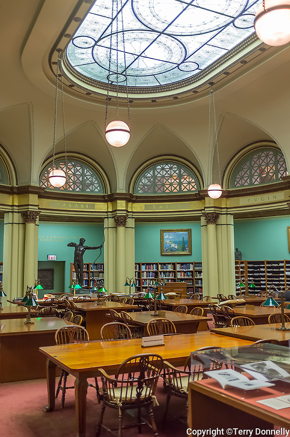 Chicago, Illinois<br /> Art Institute of Chicago, view of the Franke Reading Room with stained glass ceiling by Louis Millet