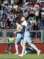 Football, Serie A: S.S. Lazio - Fiorentina, Olympic stadium, Rome, 7 october 2018. <br /> Lazio's Ciro Immobile celebrates after scoring during the Italian Serie A football match between S.S. Lazio and Fiorentina at Rome's Olympic stadium, Rome on October 7, 2018.<br /> UPDATE IMAGES PRESS/Isabella Bonotto