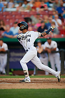 Kane County Cougars left fielder Luis Silverio (14) follows through on a swing during a game against the South Bend Cubs on July 23, 2018 at Northwestern Medicine Field in Geneva, Illinois.  Kane County defeated South Bend 8-5.  (Mike Janes/Four Seam Images)