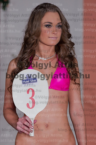 Evelin Sajtos participates the Miss Hungary beauty contest held in Budapest, Hungary on December 29, 2011. ATTILA VOLGYI