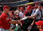 23 September 2007: Washington Nationals pitcher Mike Bacsik signs autographs prior to the historic last professional baseball game played at Robert F. Kennedy Memorial Stadium in Washington, DC. The Nationals defeated the visiting Philadelphia Phillies 5-3 to close out the home season at RFK.. .Mandatory Photo Credit: Ed Wolfstein Photo