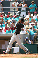 The Coastal Carolina University Chanticleers outfielder Chance Gilmore #2 at bat during the 2nd and deciding game of the NCAA Super Regional vs. the University of South Carolina Gamecocks on June 13, 2010 at BB&T Coastal Field in Myrtle Beach, SC.  The Gamecocks defeated Coastal Carolina 10-9 to advance to the 2010 NCAA College World Series in Omaha, Nebraska. Photo By Robert Gurganus/Four Seam Images