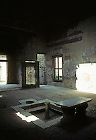 Italy: Herculaneum--House of wooden partition, looking back to entrance through atrium. Photo '83.