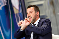 Matteo Salvini making the sing of handcuffs<br /> Rome May 22nd 2019. The Italian Minister of Internal Affairs appears as a guest on the tv show Porta a Porta<br /> Foto Samantha Zucchi Insidefoto