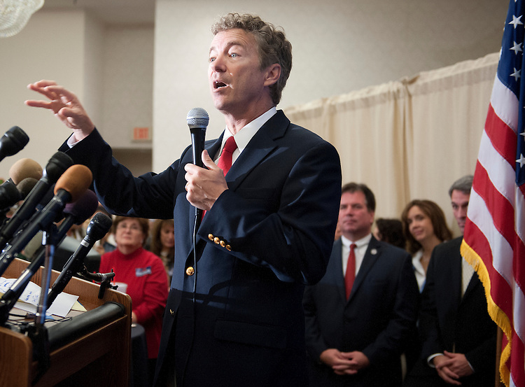 "UNITED STATES - Oct 28: Sen. Rand Paul, R-KY., campaigning for Republican Ken Cuccinelli at a rally at the Waterford in Fairfax Virginia. Kenneth Thomas ""Ken"" Cuccinelli II is the current Attorney General of Virginia and the Republican candidate for Governor of Virginia in the 2013 Virginia gubernatorial election. (Photo By Douglas Graham/CQ Roll Call)"
