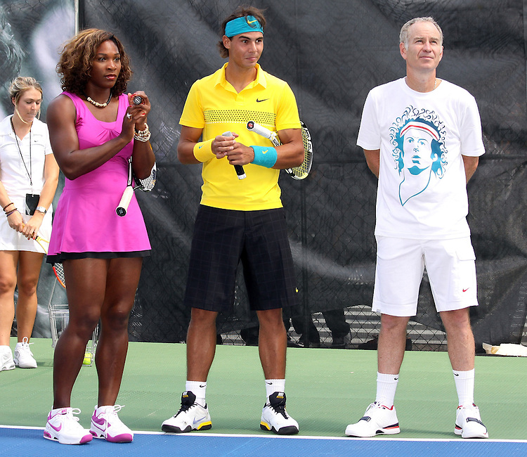 NEW YORK - AUGUST 26:  (l-r)Serena Williams, Rafael Nadal and John McEnroe at the Nike tennis court challenging fans to return a pro serve on August 26, 2009 in New York City.  (Photo by Donald Bowers)