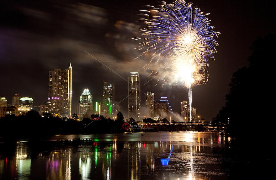 Fireworks Over Town Lake in Austin, Texas