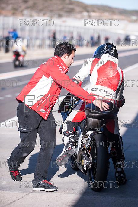 Pit line at pre season winter test IRTA Moto3 & Moto2 at Ricardo Tormo circuit in Valencia (Spain), 11-12-13 February 2014
