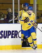 Adam Pettersson (Sweden - 18) - The Merrimack College Warriors defeated the visiting Sweden Under 20 team 4-1 on Tuesday, November 2, 2010, at Lawler Arena in North Andover, Massachusetts.