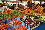 Fresh fruit and vegetables displayed on market stall,Venice Italy.