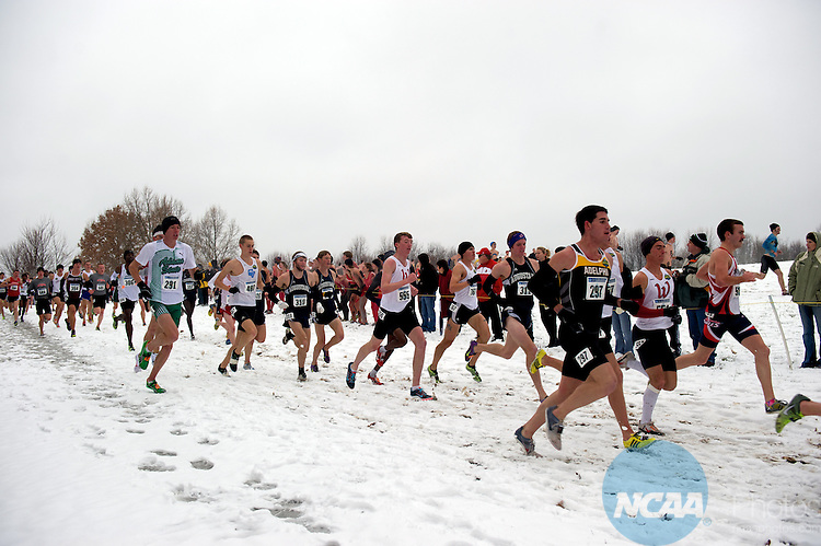 "04 DEC 2010:  Runners compete during the Division II Men's Cross Country Championship held at E.P. ""Tom"" Sawyer State Park in Louisville, KY.  Josh Duplechian/NCAA Photos"
