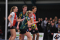 KORFBAL: GORREDIJK: Sport- en Ontspanningscentrum Kortezwaag, 12-01-2013, LDODK - TOP, Wereldtickets Korfbal League, Eindstand 22-22, Celeste Split (#6   TOP), Erwin Zwart  (#11   LDODK), Marjon Visser (#1   LDODK), Daniel Harmzen (#13  TOP), ©foto Martin de Jong