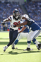 Jadeveon Clowney #90 during an NFL football game between the Houston Texans and the Indianapolis Colts, Sunday, Sept. 30, 2018 in Indianapolis. (Photo by Michael Zito/AP Images for Panini)
