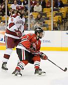 Ian Tallett (Harvard - 8), Ryan Ginand (NU - 3) - The Northeastern University Huskies defeated the Harvard University Crimson 3-1 in the Beanpot consolation game on Monday, February 12, 2007, at TD Banknorth Garden in Boston, Massachusetts.