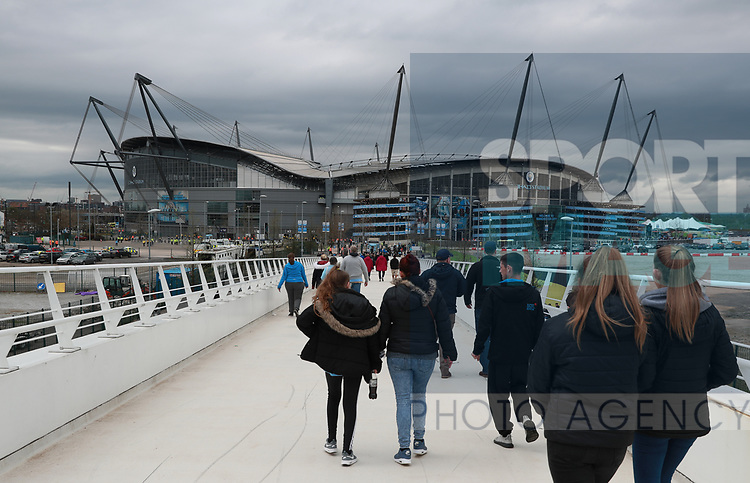 Fans arriving at the stadium during the premier league match at the Etihad Stadium, Manchester. Picture date 22nd April 2018. Picture credit should read: Simon Bellis/Sportimage