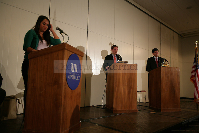 A debate between mayorial candidates Jim Grey and Jim Newberry was held in the Student Center small ballroom on Wednesday night. Photo by Ryan Buckler | Staff