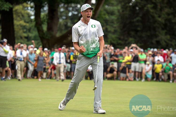 01 JUNE 2016: Sulman Raza of Oregon celebrates sinking the championship put during the Division I Men's Golf Championship is held at the Eugene Country Club in Eugene, OR. Oregon defeated Texas 3-2 for the national title. Stephen Nowland/NCAA Photos