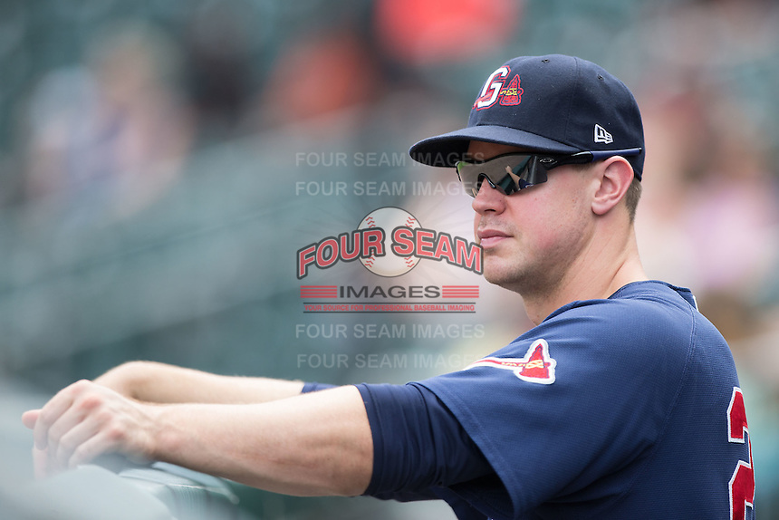 Todd Cunningham (20) of the Gwinnett Braves during the game against the Charlotte Knights at BB&T BallPark on July 3, 2015 in Charlotte, North Carolina.  The Braves defeated the Knights 11-4 in game one of a day-night double header.  (Brian Westerholt/Four Seam Images)