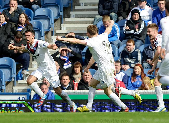 Scott Ross celebrates his opening goal for Peterhead
