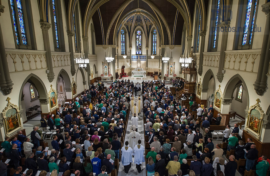 Sept 13, 2014; Mass at Saint John the Evangelist Catholic Church before the Shamrock Series football game in Indianapolis. (Photo by Barbara Johnston/University of Notre Dame
