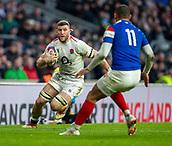 10th February 2019, Twickenham Stadium, London, England; Guinness Six Nations Rugby, England versus France; Mark Wilson of England powers towards Gael Fickou of France