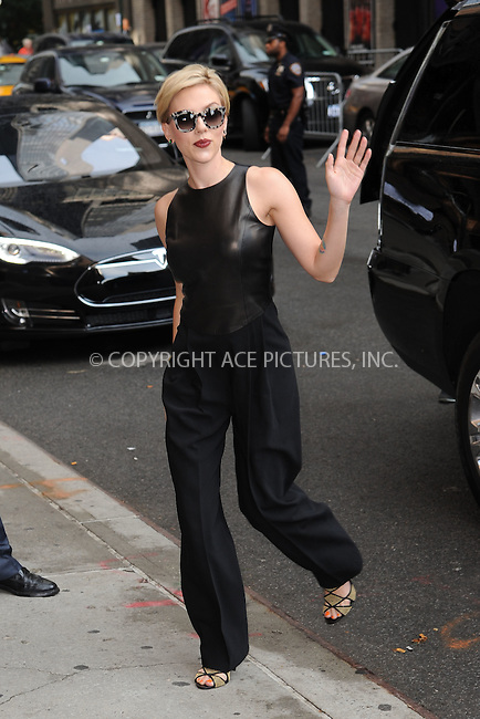 WWW.ACEPIXS.COM<br /> September 9, 2015 New York City<br /> <br /> Scarlett Johansson arriving to attend a taping of 'The Late Show With Stephen Colbert' on September 8, 2015 in New York City.<br /> <br /> Credit: Kristin Callahan/ACE <br /> <br /> Tel: (646) 769 0430<br /> e-mail: info@acepixs.com<br /> web: http://www.acepixs.com