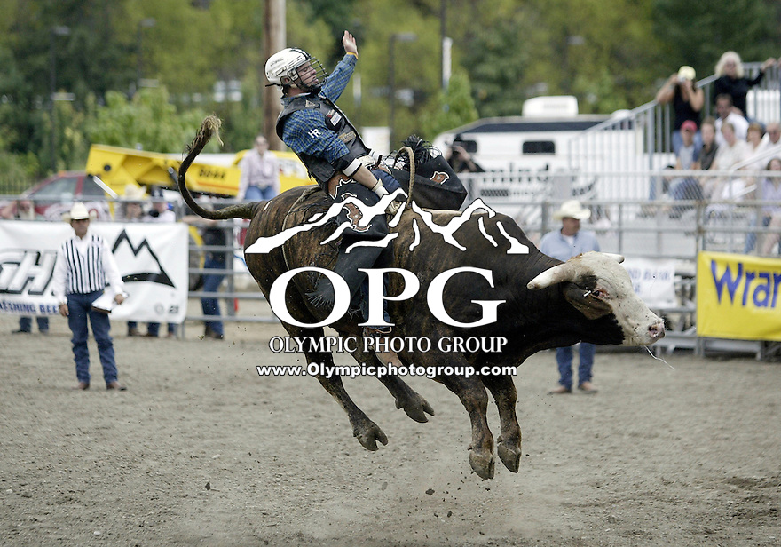26 Aug 2007:  Jarrod Craig riding the bull Ringo scored a zero in the Extreme Bulls competition at the Kitsap County Thunderbird PRCA Pro Rodeo Extreme Bulls in Bremerton, Washington.